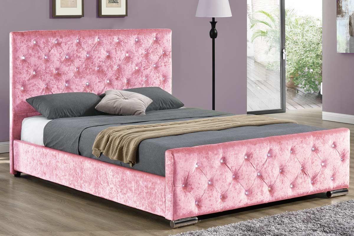 Beaumont Diamante Pink Crushed Velvet Upholstered Bed Frame