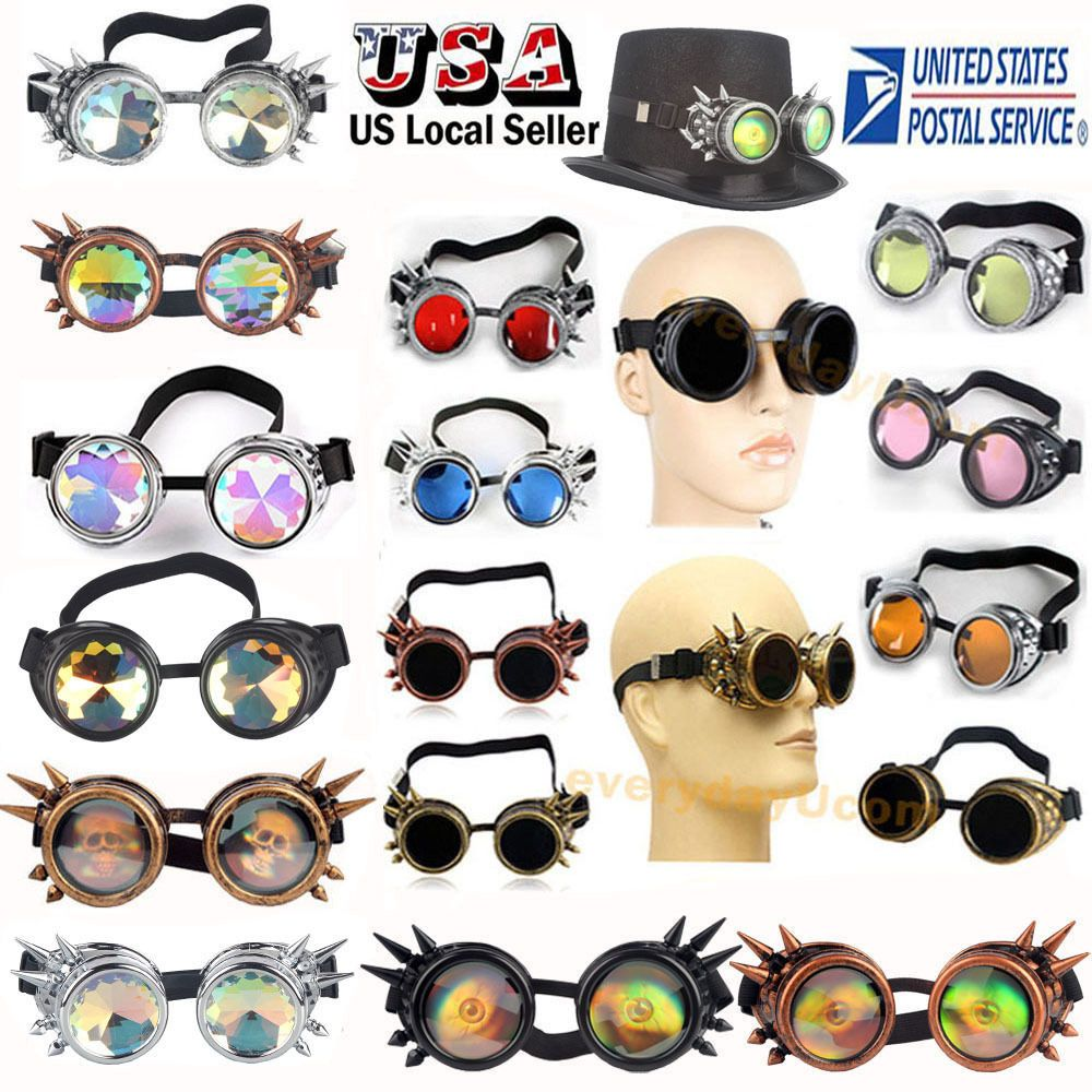 247f3ffe86ba5 US SELLER Vintage Style Steampunk Goggles Welding Cyber Gothic Cosplay Retro   Unbranded