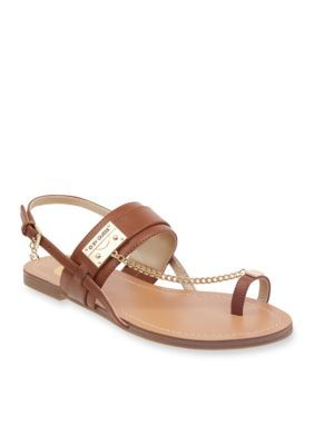c6f24e6c12b4f G By Guess Women s Lander Toe Thong Chain Sling Back Strap Sandal - Brown  Leather - 11M