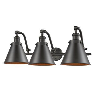Photo of Breakwater Bay Calahan Bathroom Fixture 3-Light Dimmable Vanity Light Finish: Oil Rubbed Bronze, Shade Colour: Oil Rubbed Bronze, Bulb Type: 60 Watt V