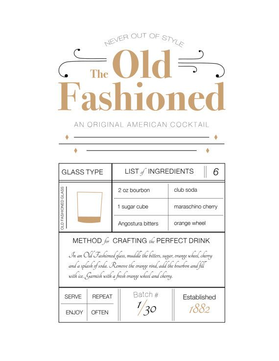 The Old Fashioned 8x10 Drink Recipe Print Recipe Printable Typography Print Wall Art Typography Poster Cocktail Drink Print Old Fashioned Drink Old Fashion Drink Recipe Old Fashion Cocktail Recipe
