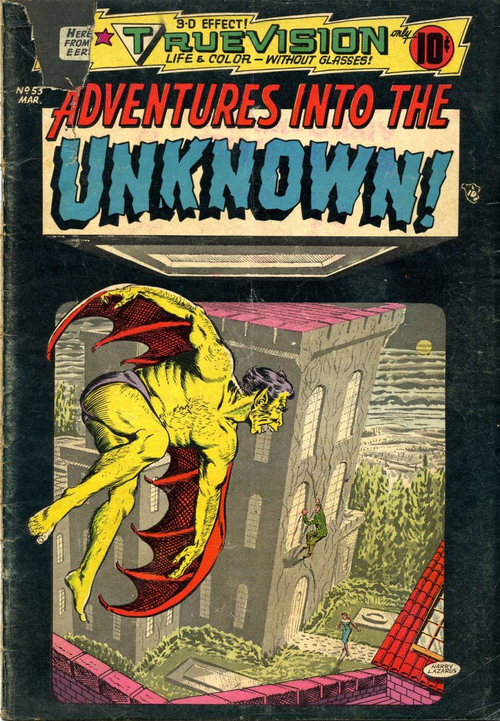 Comic book cover for adventures into the unknown 53