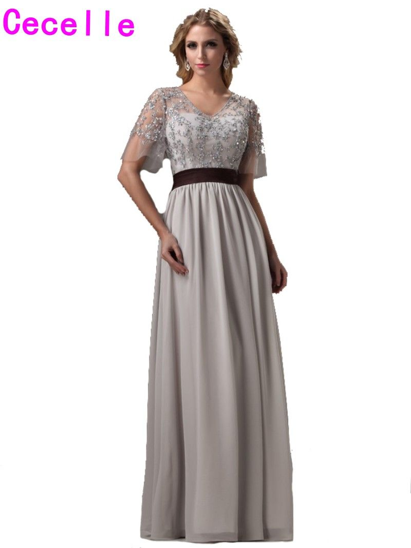 Click to buy 2017 real silver long bridesmaids dresses with click to buy 2017 real silver long bridesmaids dresses with sleeves beaded ombrellifo Choice Image