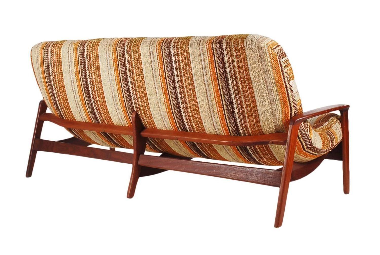 Sculptural Teak Sofa By R Huber Mid Century Danish Modern 3