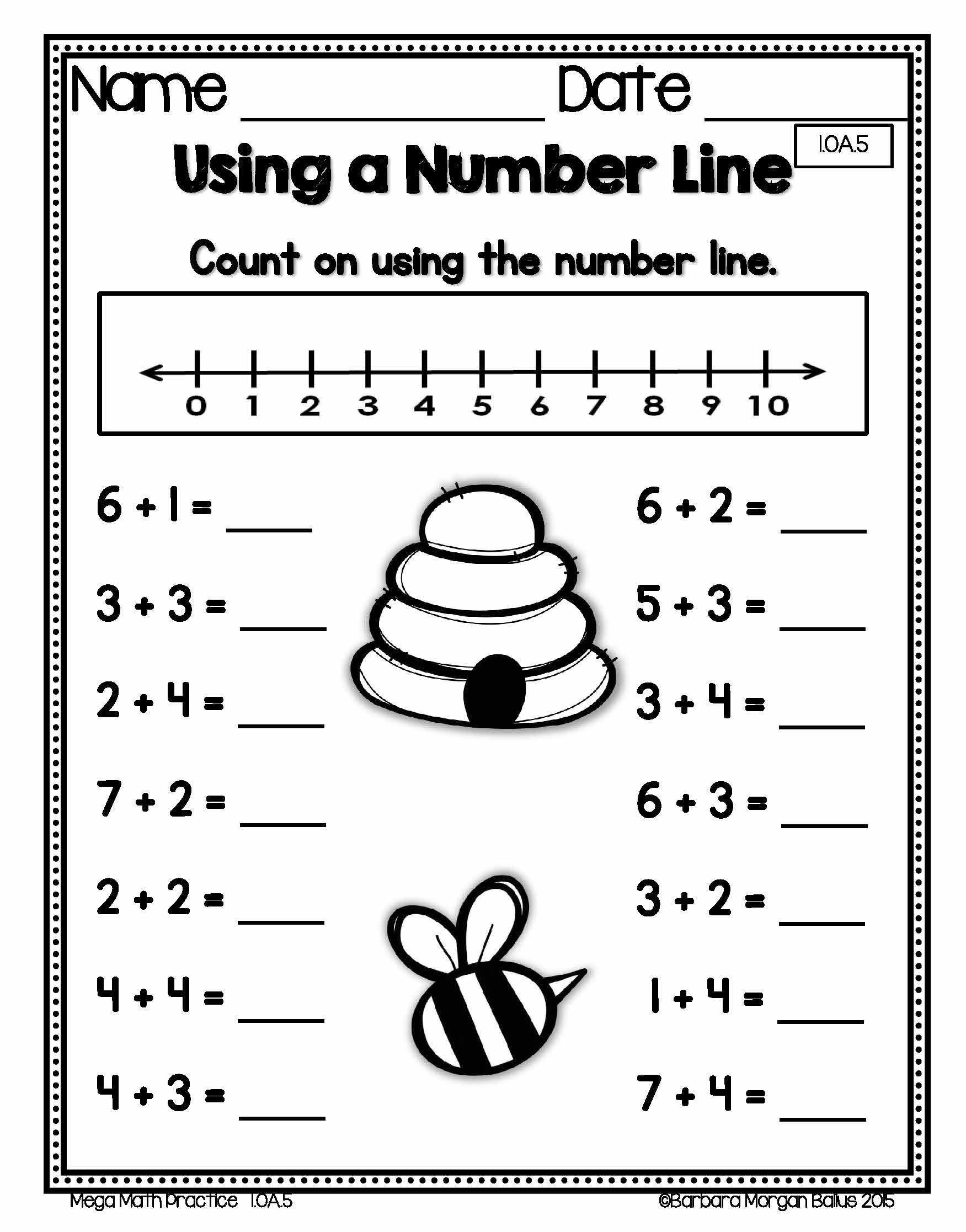 First grade math using a number line practice! Common Core standard ...