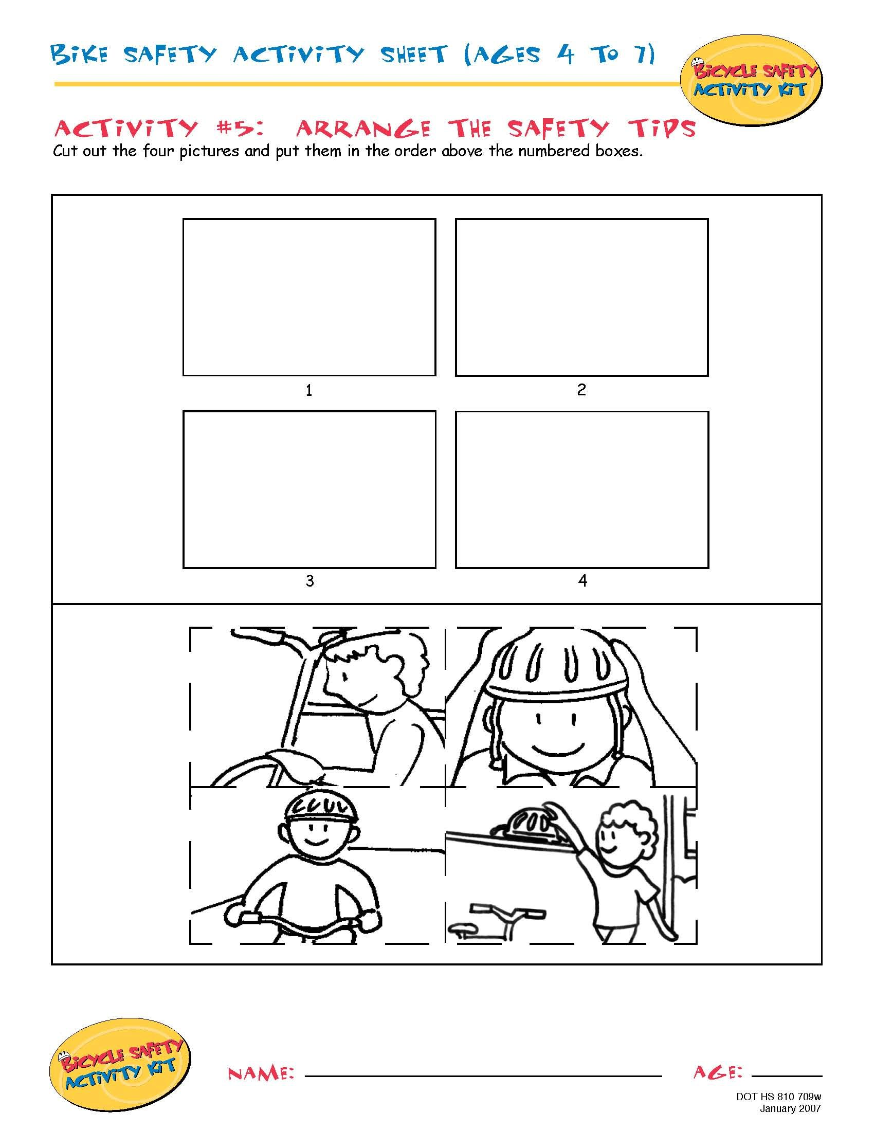 Bike Safety Activity Sheet Ages 4 To 7 Arrange The
