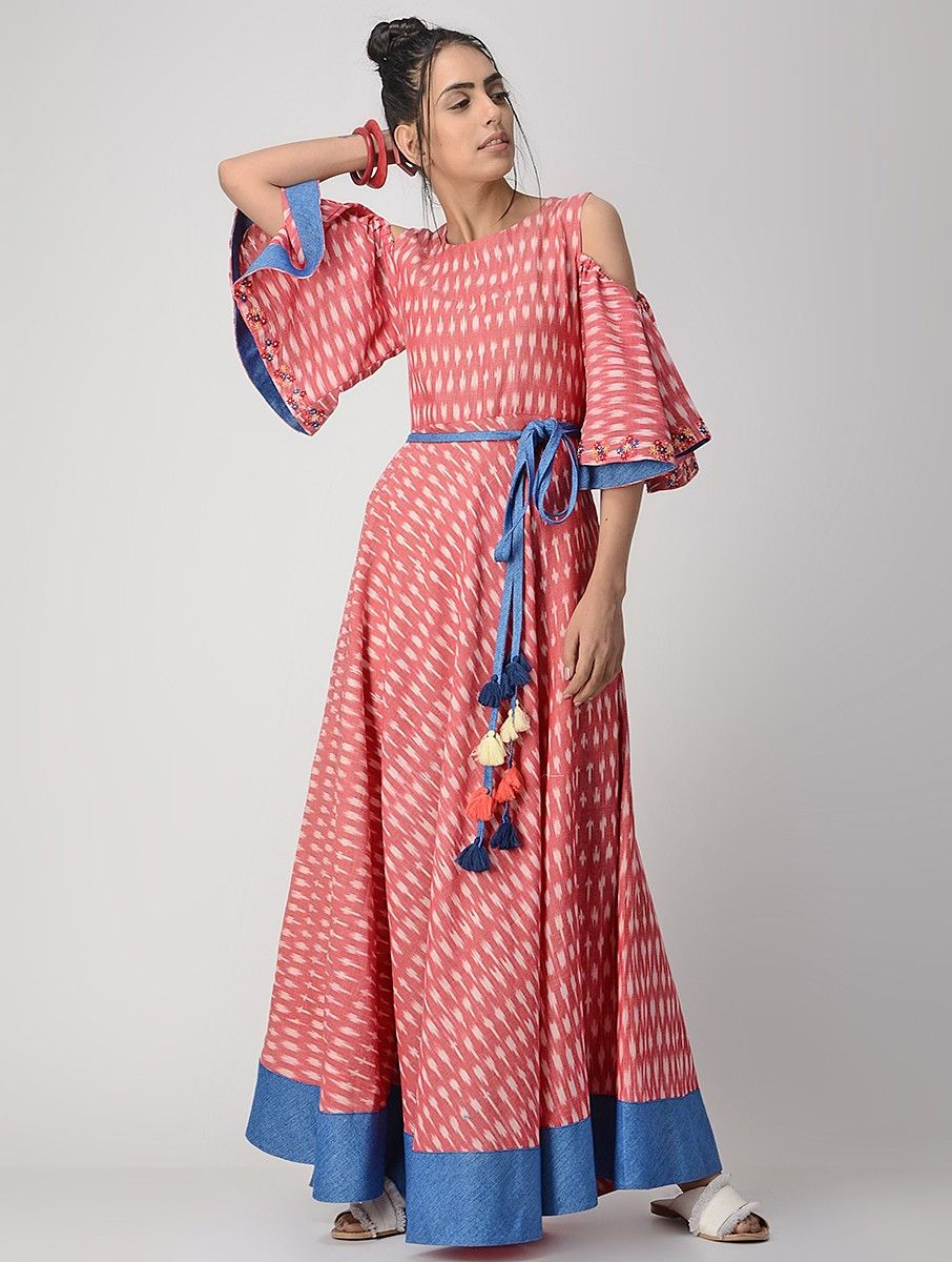Coral #Hand-embroidered #Handwoven #Ikat Cotton #Dress #Fashion ...