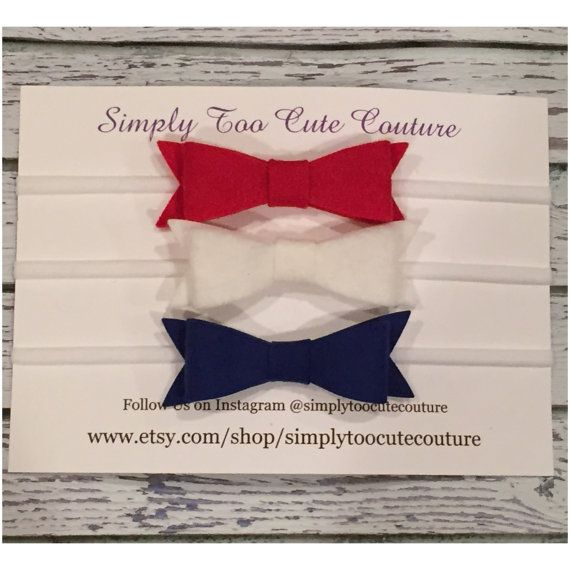 Red White and Royal Blue Felt Bow Nylon by SimplyTooCuteCouture