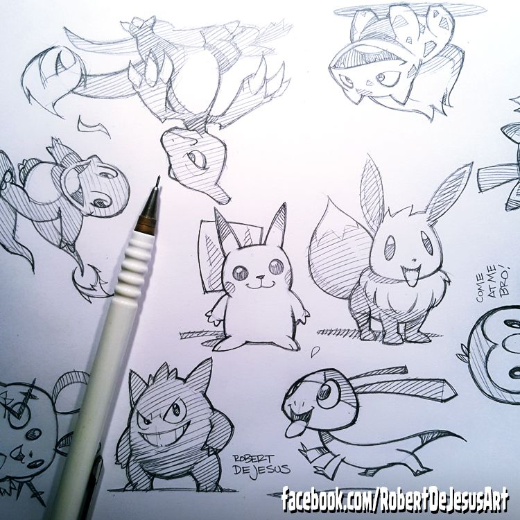 Sketched all these Pokemon during my live stream last