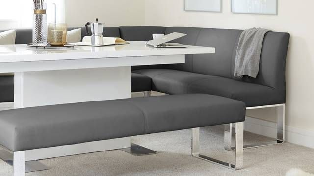 Sanza White Gloss And Loop 5 Seater Left Hand Corner Bench Dining