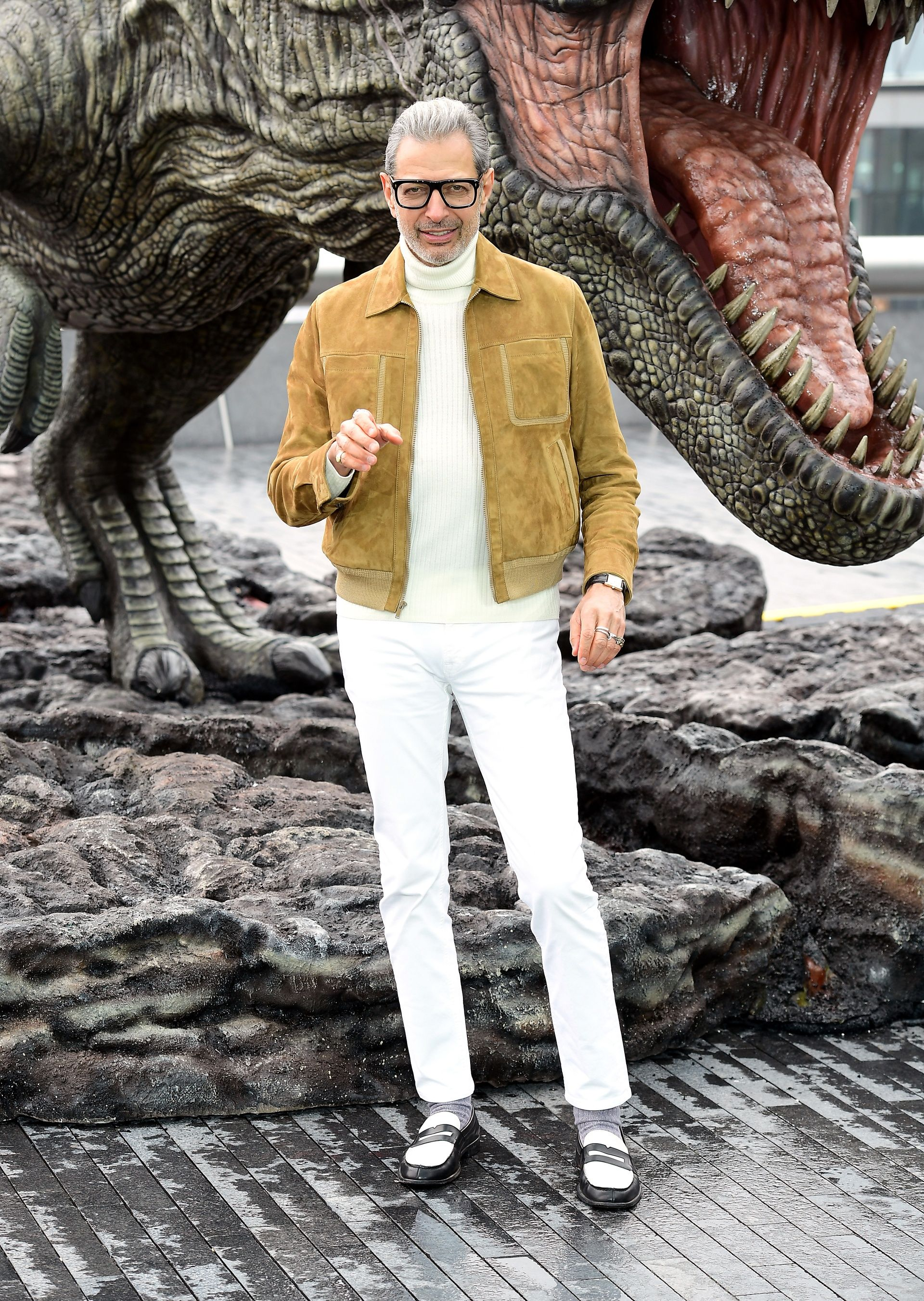 09d900a7e7 Jeff Goldblum - wearing one of the coolest suede jackets of the year  layered strongly with