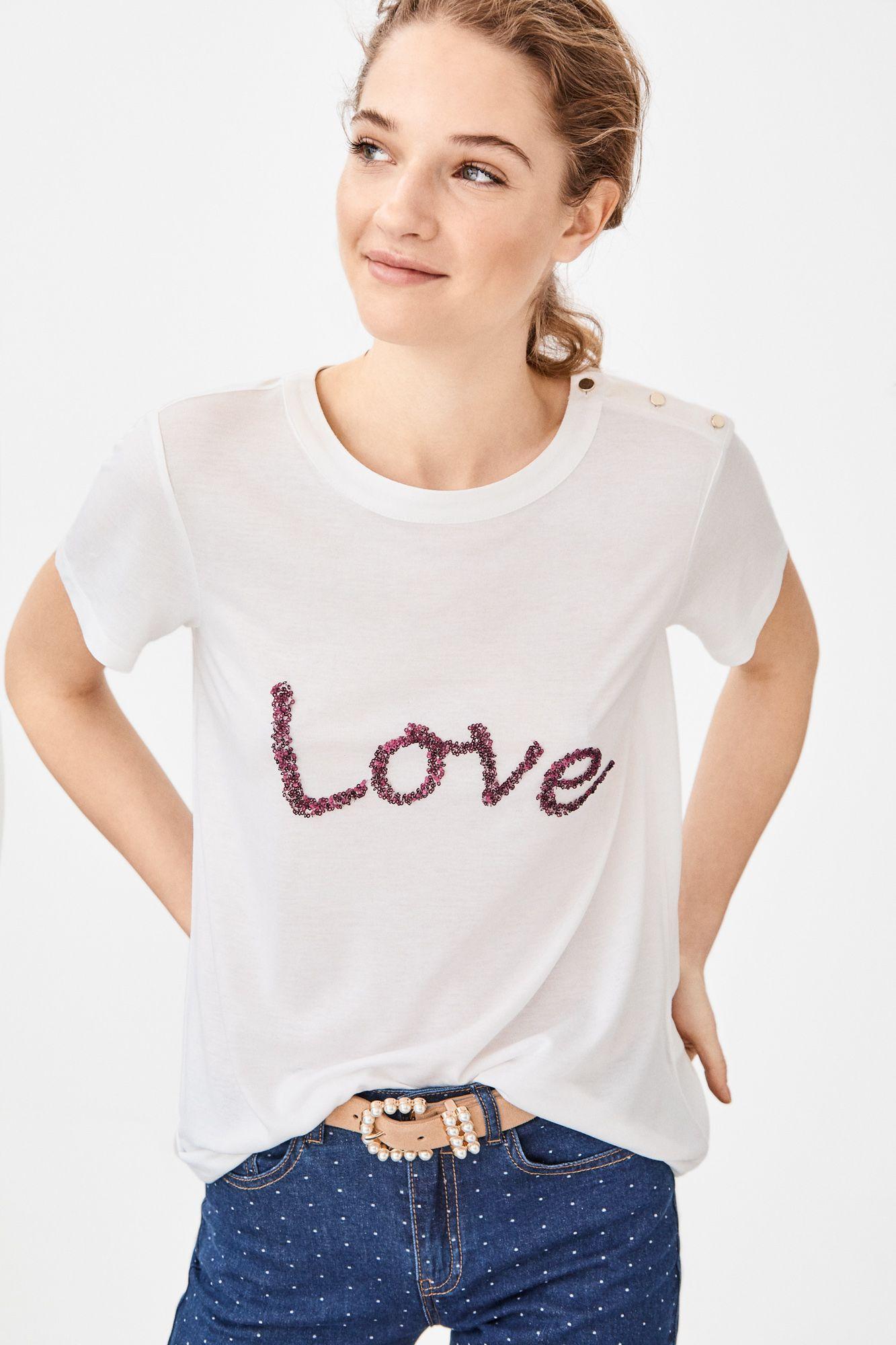 Cortefiel Camiseta Palabra Lentejuelas