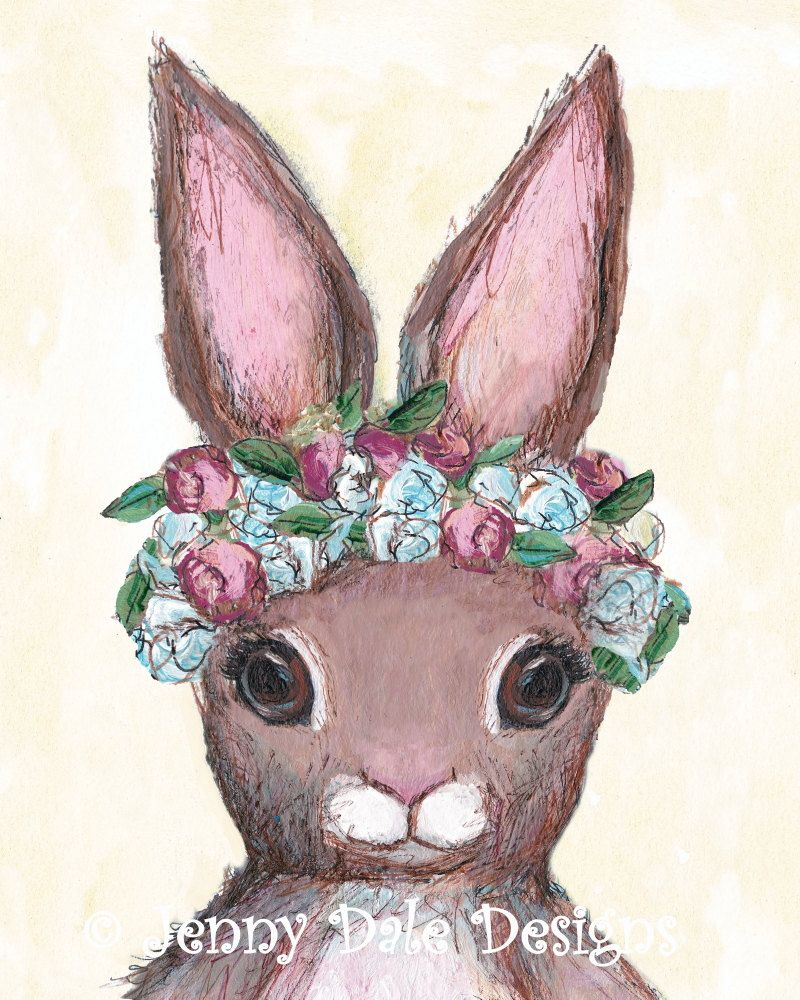 Bunny With Flower Crown Bunny Nursery Art Print Woodland Bunny Art
