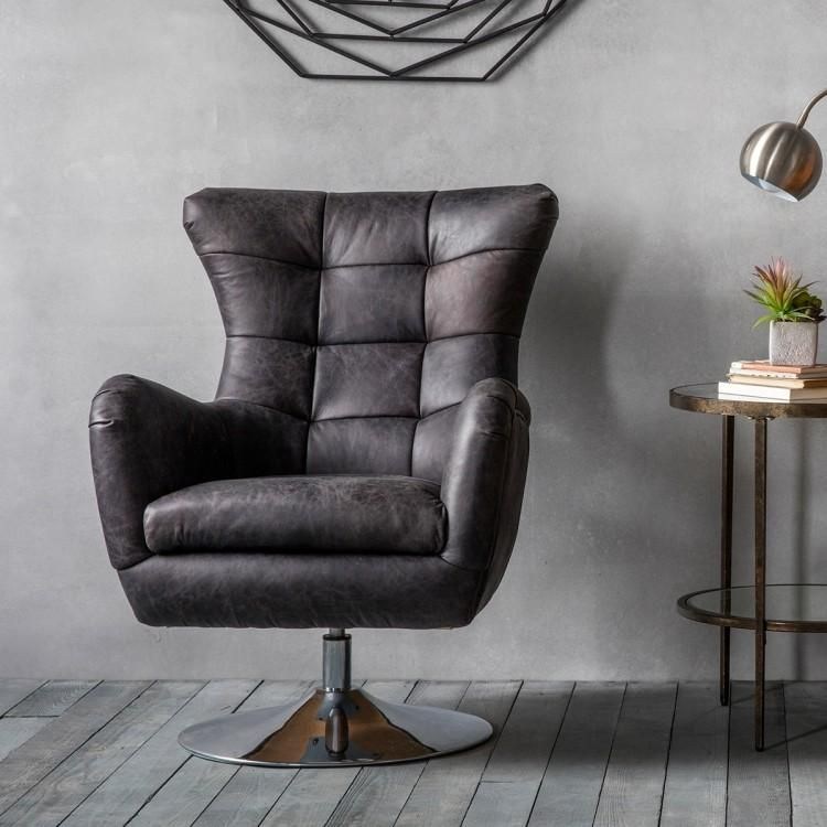 Bristol swivel chair antique ebony leather swivel chair