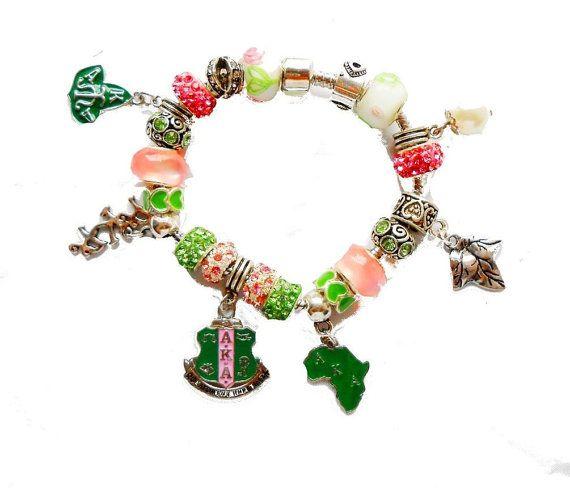 Alpha Kappa Alpha Sorority Charm  Bracelet 4 Sizes