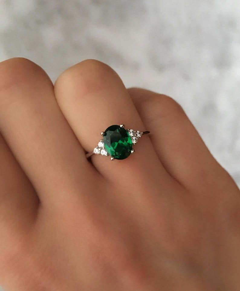 Details about  /925 Sterling Silver Natural Colombian Emerald Oval Cut Gold Plated Handmade Ring