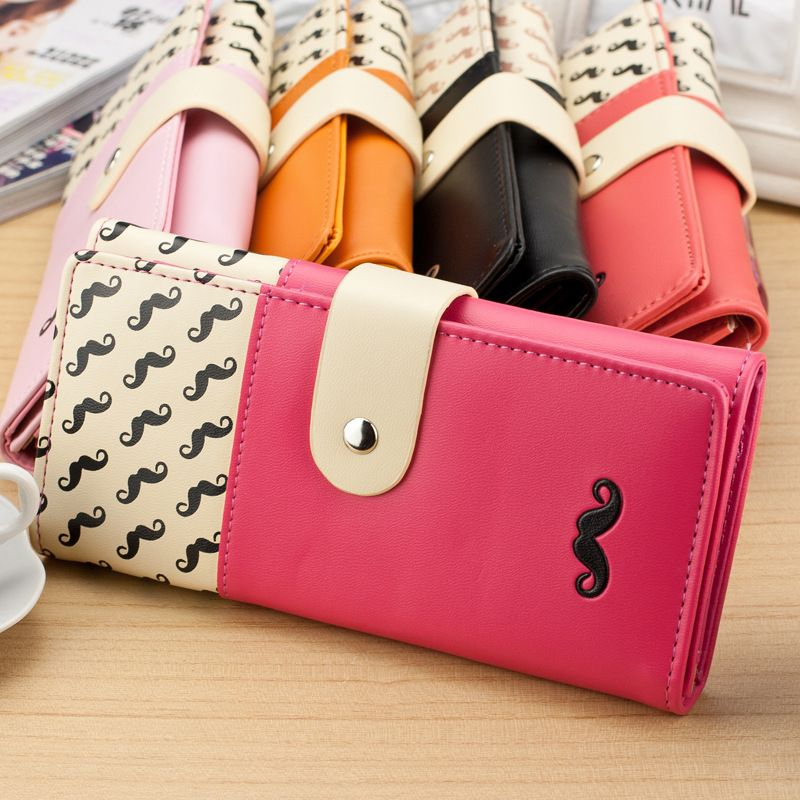 carteira feminina Smooth PU Leather Wallet Cute Mustaches Pattern ...