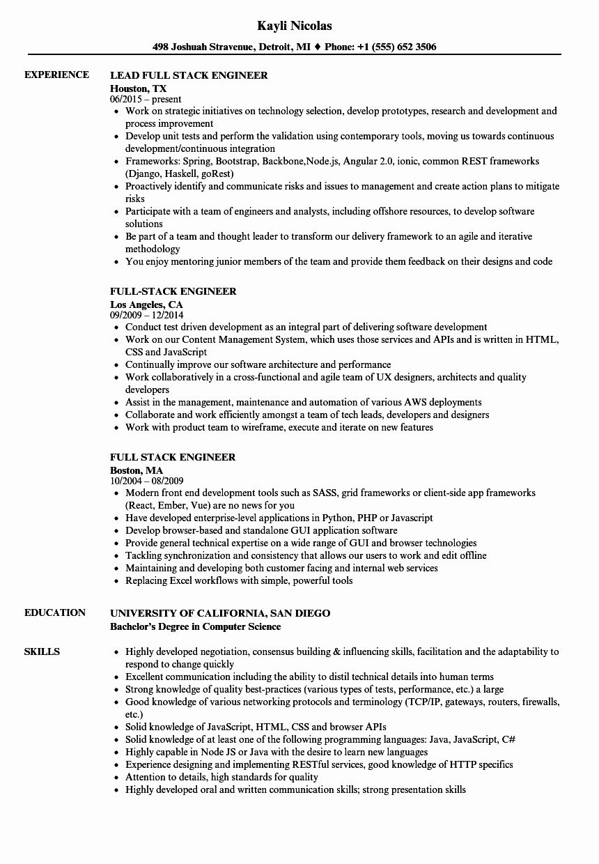 Full Stack Developer Resume Examples Beautiful Full Stack