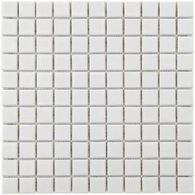 Merle Tile Metro Square Gloss White 11 3 4 Square Home Depot Porcelain Mosaic Tile Porcelain Mosaic Mosaic Tiles