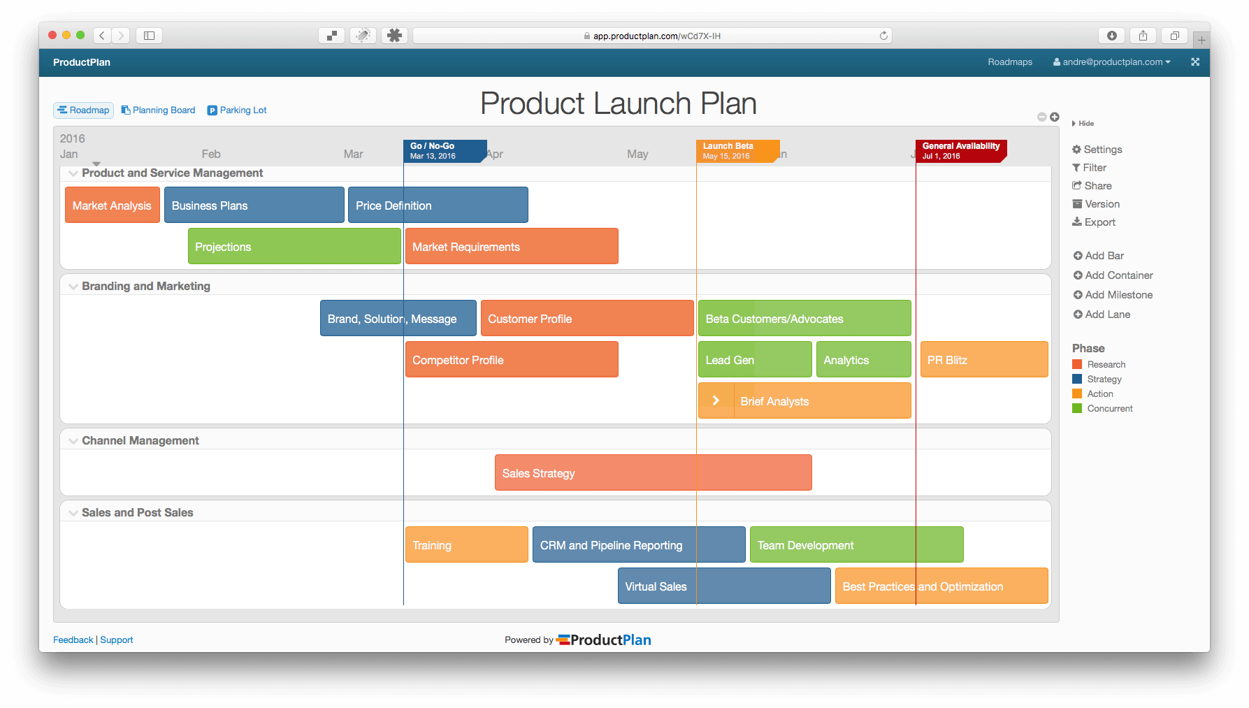 product launch plan roadmap template
