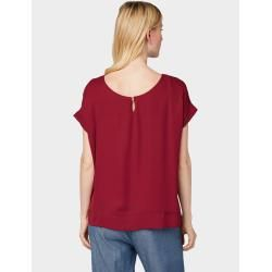 Photo of Tom Tailor Damen Chiffon T-Shirt, rot, unifarben, Gr.S Tom TailorTom Tailor