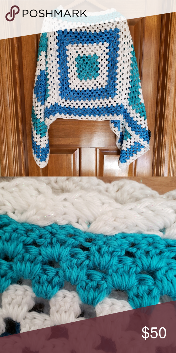 Handmade crochet granny square poncho shawl cape Handmade crochet granny square ... :  Handmade crochet granny square poncho shawl cape Handmade crochet granny square poncho shawl cape.  One size.  Blue white teal and white yarn with a bit of sparkle.  Main granny square is 16″ x 16″ Handmade Jackets & Coats Capes  #Cape #Crochet #Granny #Handmade #Poncho #Shawl #Square #grannysquareponcho