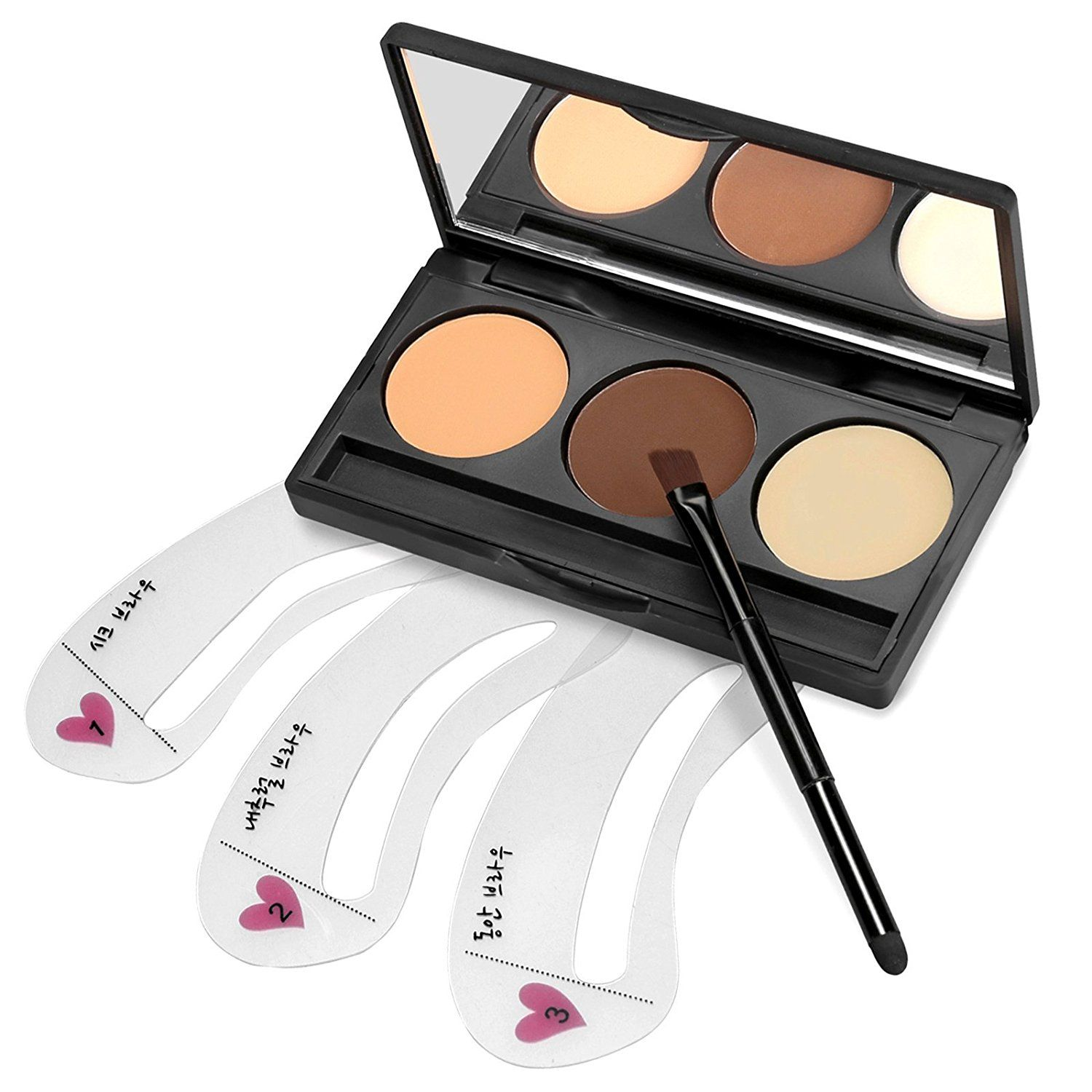 Eshion 3 Colors Cosmetics Eyebrow Brow Makeup Kit Set With 3pcs