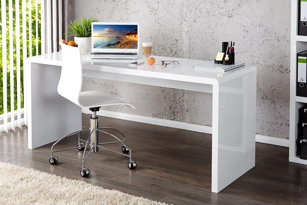 Table bureau blanc laqué bureau moderne noir homeo textiles