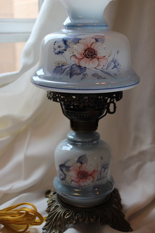 Vintage Blue Fl Hurricane Lamp, Blue Hurricane Lamp Shade