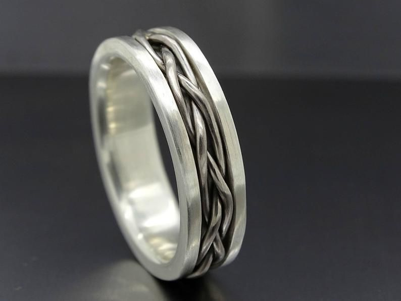 Mens Wedding Band Medieval Gold Braided Wedding Ring Viking Etsy Sterling Silver Rings Bands Proposal Ring Gold Braided Wedding Rings