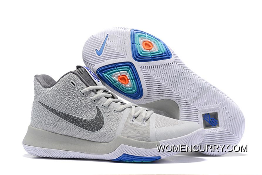 48e781025a5 Nike Kyrie 3 Wolf Grey Volt – White PE Men s Basketball Shoes New ...