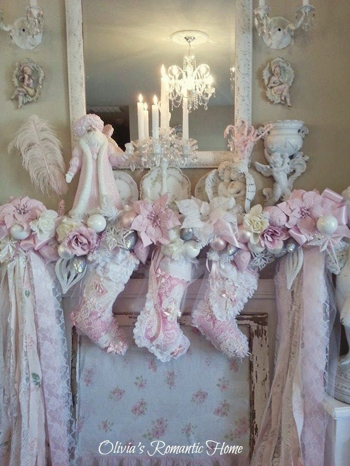 Olivia 39 s romantic home inexpensive pink christmas mantel - Shabby chic christmas decorations to make ...