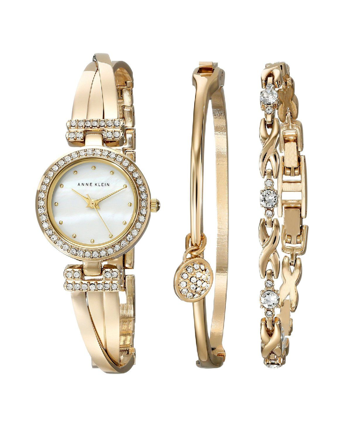 5a375f6a2ca Anne Klein Women's AK/1868GBST Swarovski Crystal-Accented Gold-Tone Bangle  Watch and Bracelet Set >>> Click image for more details.