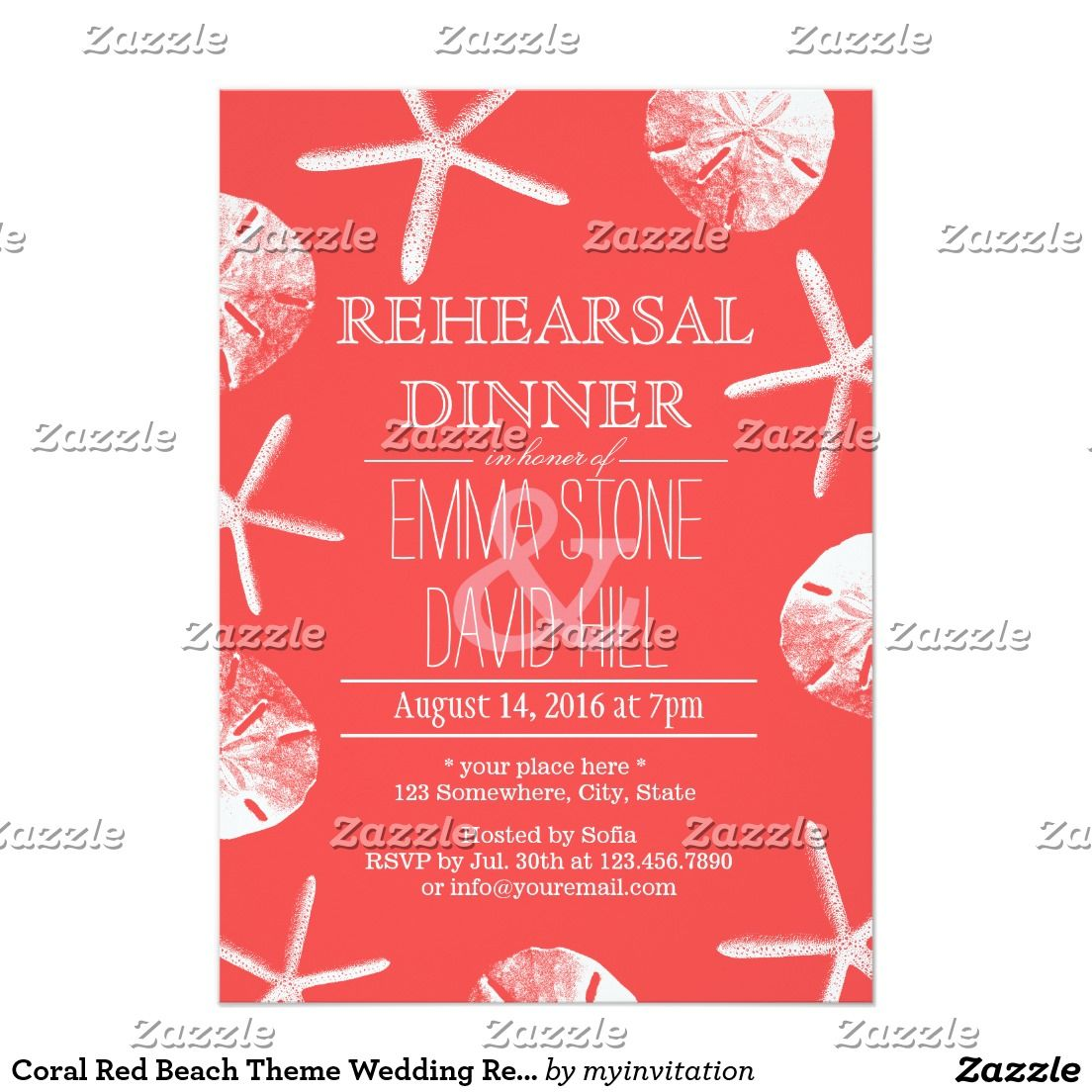 Coral Red Beach Theme Wedding Rehearsal Dinner Invitation ...