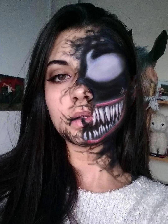 Venom 2020 Halloween Costume Awesome venom Halloween makeup look! #halloweenmakeup in 2020