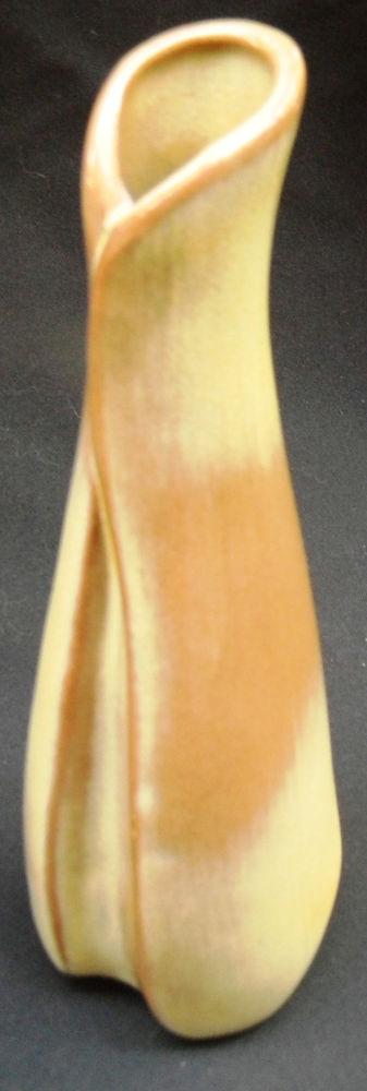 """Mid-Century Francoma Art Pottery Brown Tones Bud Vase """"46"""" USA"""
