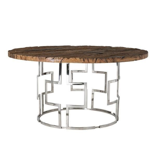 Luxe Kensington Reclaimed Wood Industrial Nest Of Round: Luxe Kensington Reclaimed Wood Round Dining Table