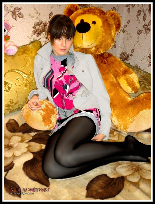 Teddy bears wearing pantyhose