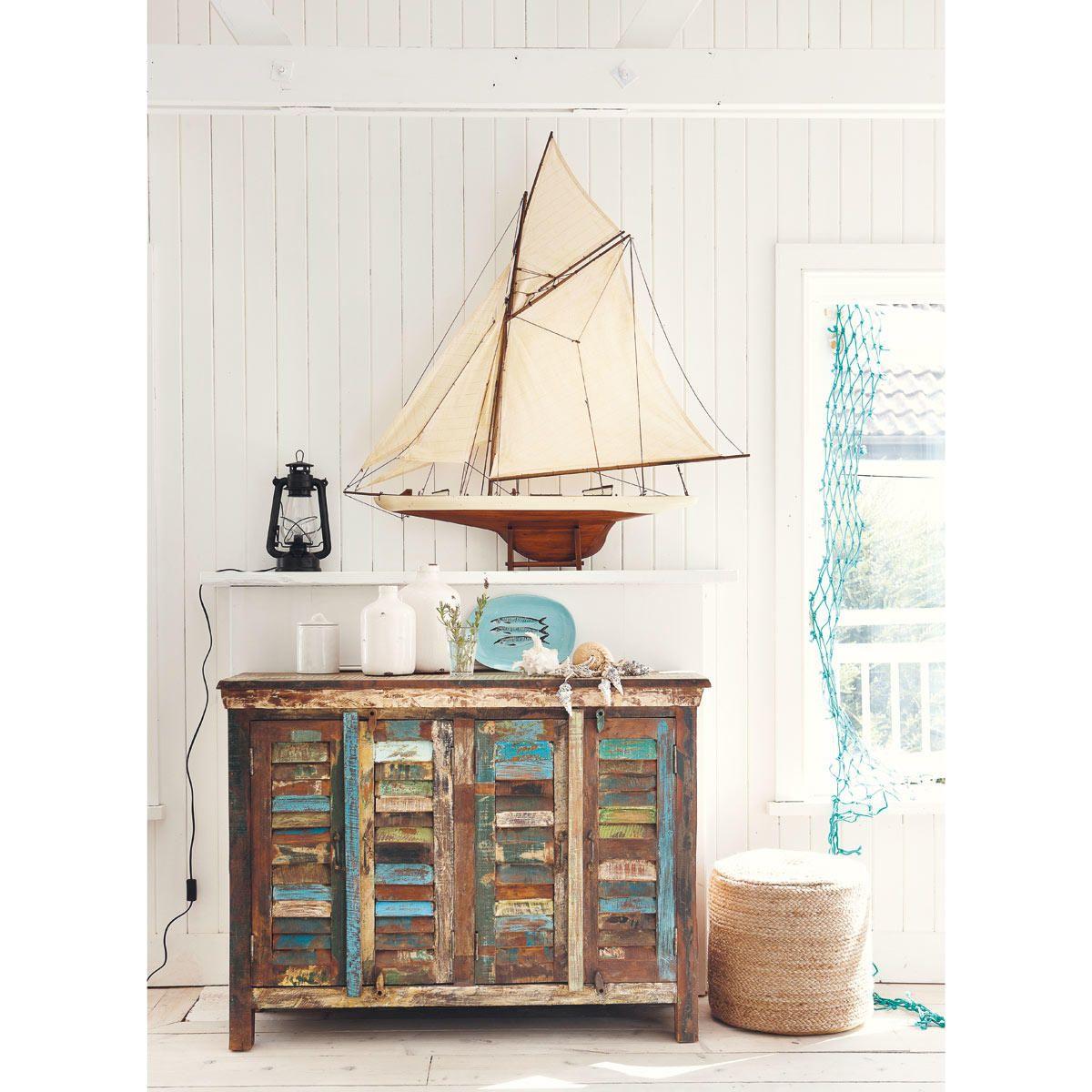 Bateau d co en bois 120 x 124 cm arcachon maisons du for Appartement deco bateau
