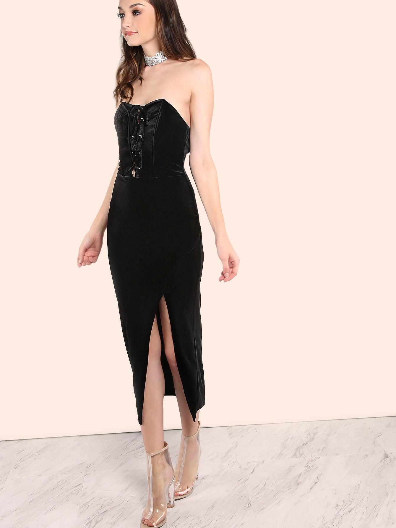 Makemechic makemechic strapless bustier lace up velvet slit dress