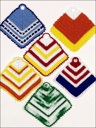 Crochet for the Home - Crochet Potholder Patterns - Vibrant Stripes ...