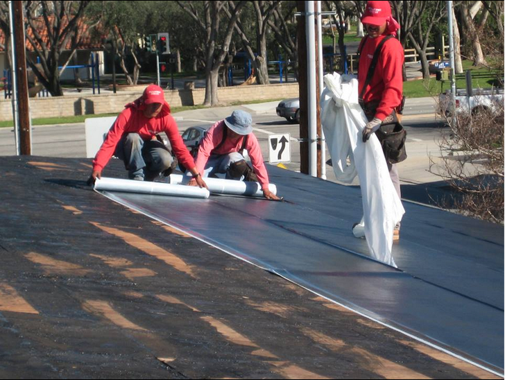 Low Slope Shingles Roof, In The Re Roof Process. Commercial Property,  Material