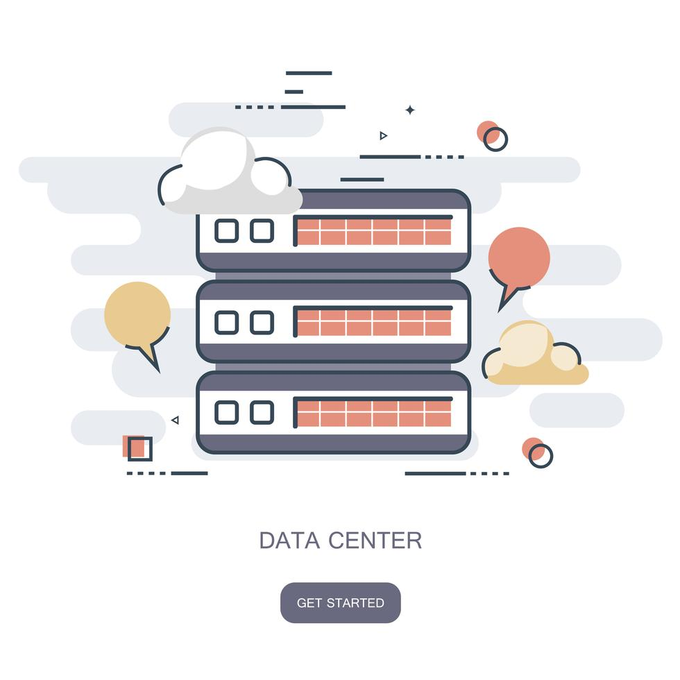 Data Center Cloud Computer Connection Hosting Server Database Hosting Icon Vector Art Design Cloud Computing Technology