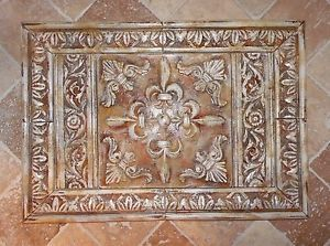 French Country Fleur De Lis Medallion Cast Stone  · Stone Backsplash  TileKitchen ...