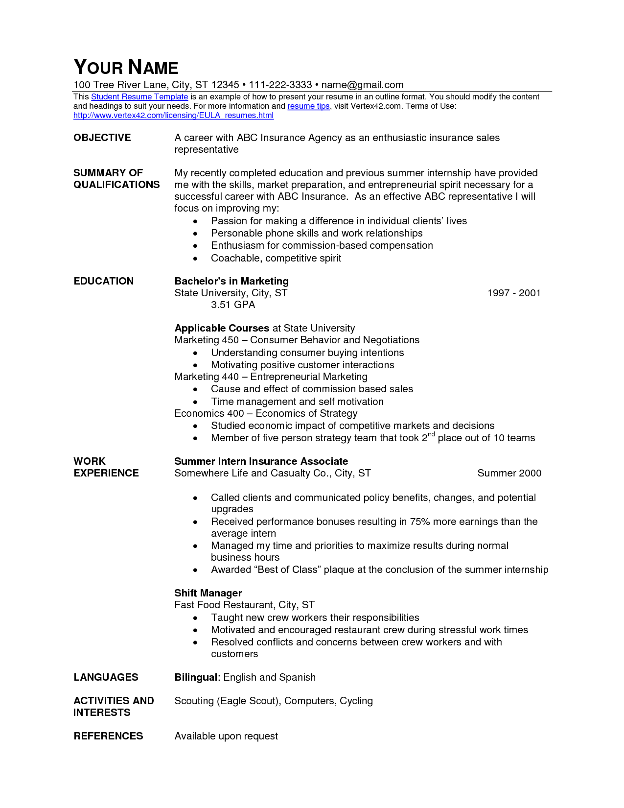 fast food service resume Personal financial statement