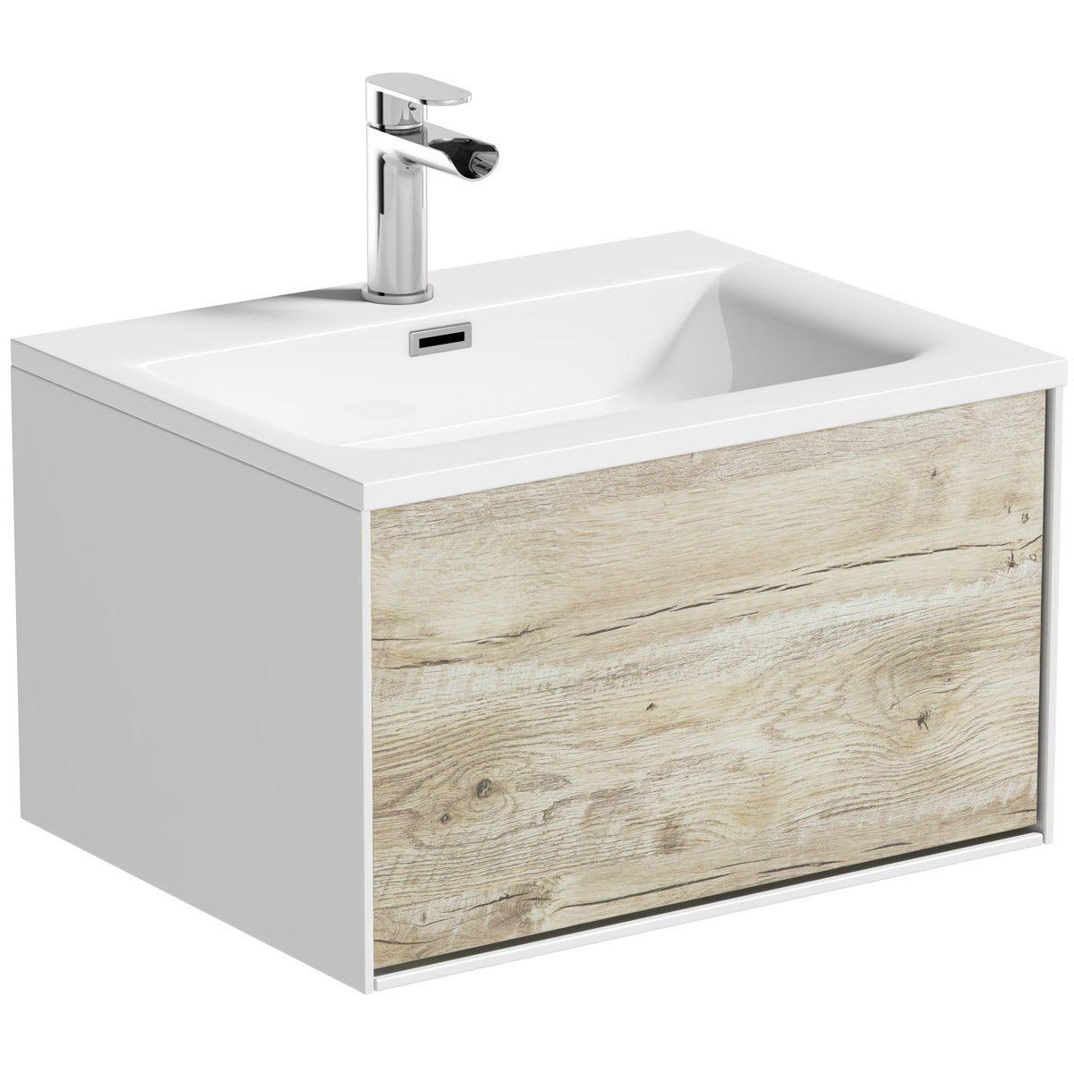 Mode Burton White Rustic Oak Wall Hung Vanity Unit And Basin 600mm Wall Hung Vanity Vanity Units Vanity