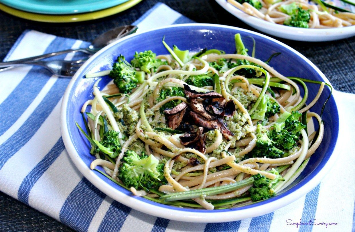 Broccoli Pesto with pasta Simple and Savory.com