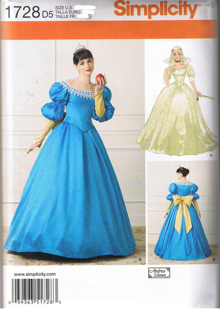 Simplicity 1728 Snow White Costume Pattern 4-12 Andrea Schewe ...