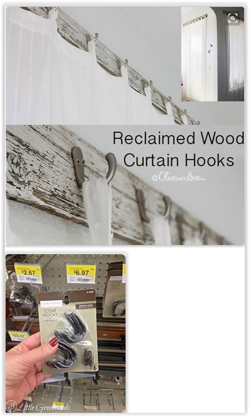 Reclaimed Wood With Unique Curtain Hooks Using Simple Coat To Make A Cute Holder Or Rod