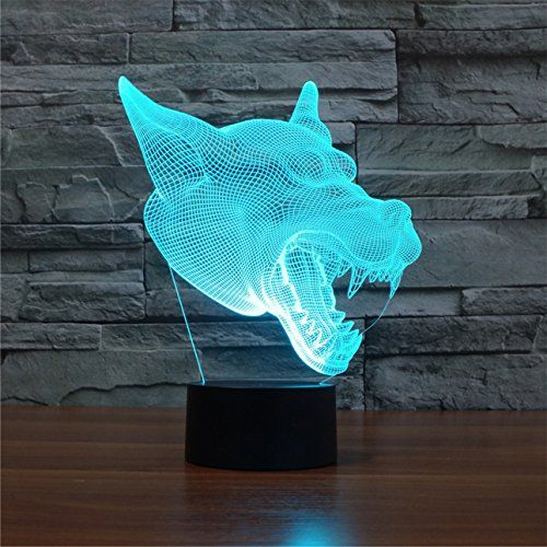 Funplaza 3d Lamp Wolf Acrylic Laser Carving Amazing Glow Led Illusion Desk Table Night Light For Rooms Decoration Ch Cool Desk Gadgets Illusions Christmas Toys